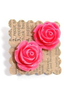 Rose Earrings in Hot Pink.