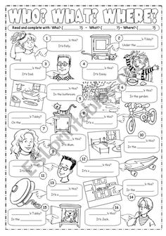 Complete with Who? - A worksheet going with Happy Street Units English Class, English Lessons, English Grammar, First Grade Worksheets, Grammar Worksheets, Esl, Wh Questions, This Or That Questions, Verbo To Be