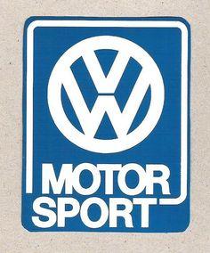 VW Volkswagen Motorsport Sticker, Blue w/ White, Vintage Sports Car Racing Decal