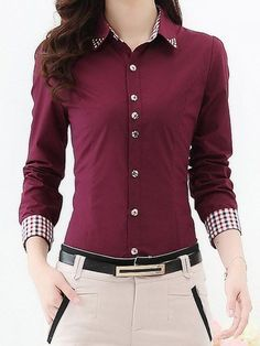 Stylish Shirt Collar Long Sleeve Beaded Plaid Women's Shirt