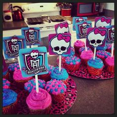 Monster High birthday party.  Mallory's monster high cupcakes, easy cupcake toppers, use stickers.