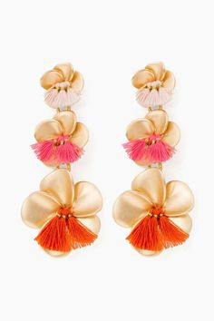 Gold Triple Floral Drop Earrings in Gold by Tuckernuck - Tnuck