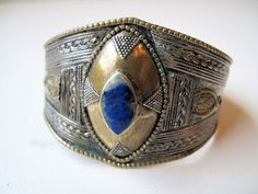 Vintage Tribal  Bangle,Bracelet with Lapis Lazuli  from Afghanistan. $39.00, via Etsy.