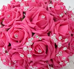 pink flowers for weddings | WEDDING FLOWERS - BRIDES POSY BOUQUET IN HOT PINK ROSES, CRYSTALS AND ...