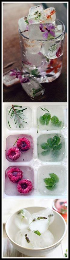 Vos glaçons vous vont surprendre:fleurs, fruits, herbes, tout y passe! Congelez des fruits, des fleurs ou des herbes dans vos glaçons ...