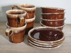 Antique Dishes   vintage hull brown drip dishes by suesuegonzalas on Etsy