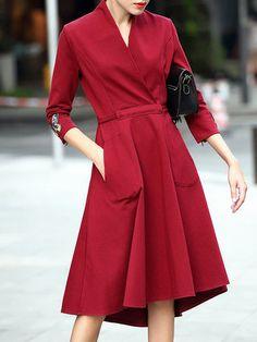 Burgundy 3/4 Sleeve Embroidered Midi Dress