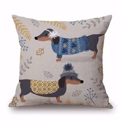 SALE! Dachshund Decorative Linen Pillow Cushion Cover