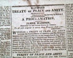News of the Treaty of Ghent ratification.