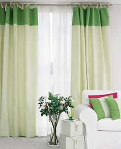White and green curtains