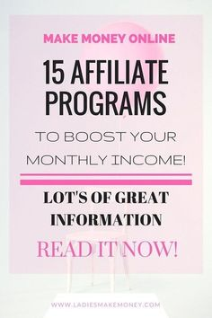 15 Affiliate Programs to boost your monthly income. Make money blogging. Increase your blog income. Learn how to make money with Affiliate marketing. Brands for bloggers. Make Easy Money, Make Money From Home, Home Based Business Opportunities, Business Ideas, Business Holiday Cards, Le Web, Earn Money Online, Extra Money, Affiliate Marketing