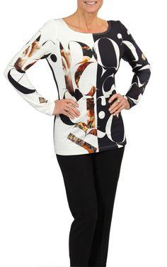 Long sleeve, half black, half white letter print top- available only in stores. White Letters, Autumn Fashion, Blouse, Fall, Long Sleeve, Collection, Black, Tops, Women