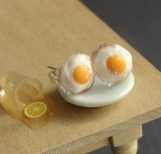 Polymer Clay Food Fried Egg Earrings by fairchildart on Etsy