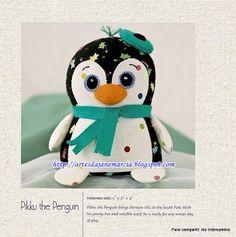 Pinguim peso de porta - com molde e pap