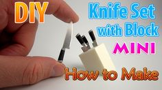 DIY Realistic Miniature Knife Set with Wood Block | DollHouse