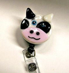 Retractable Badge Holder Fused Glass Cow by CDChilds on Etsy, $22.00