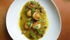 Seared Sea Scallops With Roasted Tomatillos And Green Olives