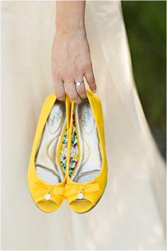 Yellow peep toe wedding shoes | Courtney Bowlden Photography on @blacksheepbride