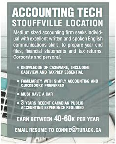 #Accounting tech needed at medium sized accounting firm! $40 - $60k a year, located in #Stoufville.