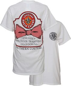 Southern Couture ULL Ragin Cajuns Classic Bow University of Louisana Lafayette Girlie Bright T Shirt