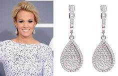 White and sparkling: get Carrie Underwood's look with Greenwich Collection cubic zirconia teardrop earrings, at Greenwich Jewelers