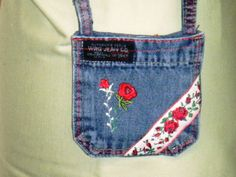POCKET PURSE Recycled Denim Jean Bag Red Roses by APERFECTSTITCH, $6.00