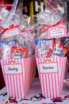 Send your guests home from your movie night party with vintage popcorn box party favors! Print at home. Perfect for birthdays, weddings, baby showers, bridal showers. See the full editable movie night party th Backyard Movie Party, Outdoor Movie Party, Backyard Birthday Parties, Backyard Movie Nights, Sleepover Birthday Parties, Outdoor Movie Nights, Birthday Party For Teens, Card Birthday, Birthday Greetings