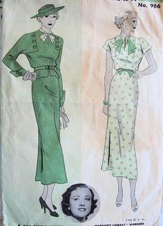 1930s BEAUTIFUL DRESS PATTERN MOVIE STAR MARGARET LINDSAY HOLLYWOOD 986 bm right