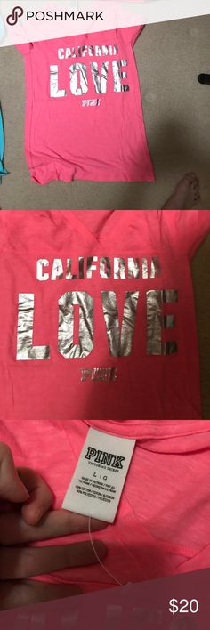 Nwot Victoria's Secret pink city tee California L Tts. Price firm. Will only trade for ISO pink items. PINK Victoria's Secret Tops