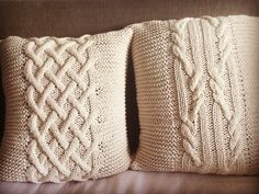 Hand knitted pillow covers