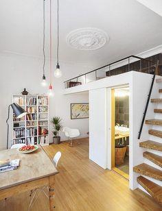 kleine wohnung einrichten mit hochbett_coole ideen zum 1 zimmer wohnung einrichten mit loft bed über bad und eingangsbereich