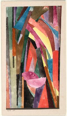 "Paul Klee, ""(Lustig?) [Lachende Gothik] [(Drôle?) [Gothique joyeux]]"" (1915), watercolor and pastel on paper, metallic paper borders on card"