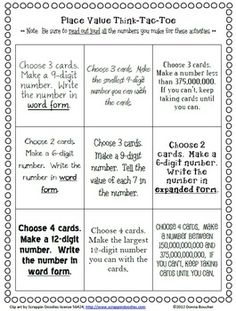 Place Value with Large Numbers: Choice Board and 'I Can' Cards // FREEBIE from Math Coach's Corner