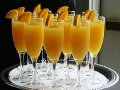 Virgin Mimosas. Equal parts orange juice & ginger ale. My kids love them.