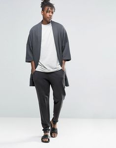Image 4 ofASOS Loungewear Kimono Cardigan In Washed Black