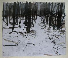 Harry Stooshinoff, April Snow Path, 9 X 10.75 on paper