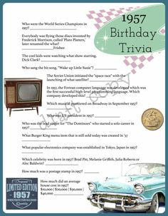 Birthday Trivia Game by Year! Great for any big birthday coming up. Ask your guests trivia questions all around the year the birthday honoree was born! 1965 Trivia, 1950 Trivia, 1984 Trivia..whatever year you would like!  This download is for 1957 (someone turning 60)  Instant Download, Nothing is Shipped.  You can place you order via this listing and put the year you would like in the order notes. We will send you your game & answers via email for you to print as many copies as you need!...
