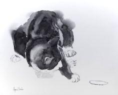 """Saatchi Art Artist Agnes Bodor; Painting, """"Playing Bubi"""" #art"""