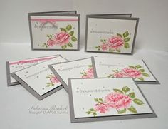 Stampin' Up! ... handmade  thank you cards from Aspiring to Creativity ... beautiful triple stamped flowers ... sprinkling of Liquid Pearls ... like the trendy gray card base ... pretty cards!!