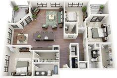 "50 Three ""3"" Bedroom Apartment/House Plans   Architecture & Design"