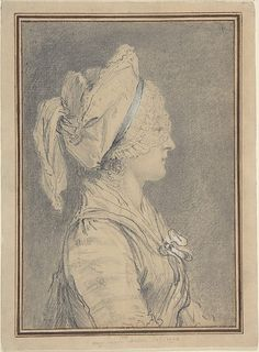 Half Figure of a Woman Wearing a Cap, in Profile to Right, 1770 by Augustin de Saint-Aubin (1736-1807) (Metropolitan Museum of Art)
