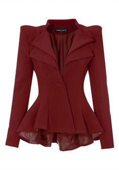 Looking smart and stylish on a simple work day is easy with this burgundy double lapel fit-and-flare blazer.