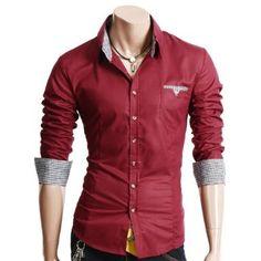 Doublju Mens Casual Patched Dress Shirts