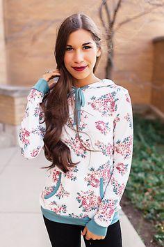 Ivory/Teal/Rose Print Sweatshirt - Dottie Couture Boutique Dottie Couture Boutique, Printed Sweatshirts, Floral Tops, Teal, Ivory, Ruffle Blouse, Rose, Fashion, Moda