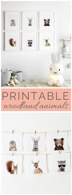These animals are so cute and totally perfect for our nursery - i love the simplicity and cuteness. | Woodland Animals | Nursery Woodland | Nursery Decor | Printable Decor | Kids Decor | Nursery Wall Art | Animal Posters | #woodland #nordic #ad (Affiliatelink - I will earn a small commission if you click on this link - no additional cost for you)
