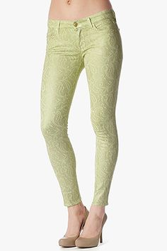 "Love these- totally comfortable and fashionable!  The Skinny in Celery Paisley Sprayed Lace (29"" Inseam) #7FAM"