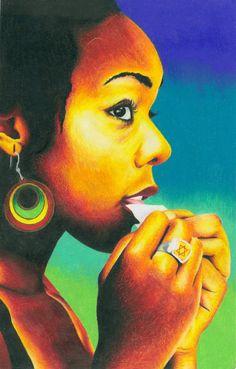 Jamaican Reggae Rasta Girl smoking  24 x 36in by LaurenTirro, $30.00