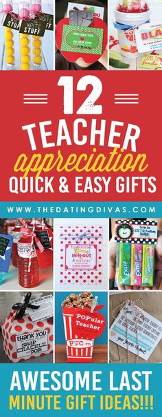 Appreciation Gift Ideas Sooo many quick and easy teacher appreciation gift ideas! Most come with free printables too! Sooo many quick and easy teacher appreciation gift ideas! Most come with free printables too! Teacher Treats, Your Teacher, Teacher Gifts, Teacher Presents, Teacher Thank Yous, Teacher Tote, Student Gifts, Teacher Stuff, Dating Divas