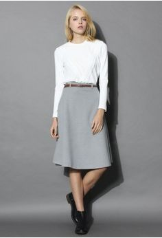 Classy Chic Wool-blend A-line Midi Skirt in Grey - Bottoms - Retro, Indie and Unique Fashion