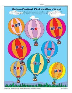 Balloon Festival - Find the Short Vowel Worksheet Practice Activity